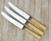 NEEDHAM VINCENT DINNER KNIFE SET x3 - VINTAGE CUTLERY STAINLESS STEEL SHEFFIELD