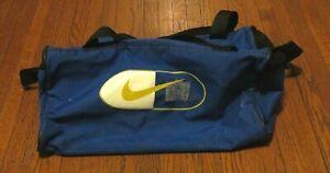 Men's VTG 90's Nike Swoosh Logo Royal Blue Gold Small Duffle Gym Bag