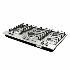 """34"""" Titanium Stainless Steel 6 Burner Built-In Stoves Gas Cooktop Kitchen Cooker"""