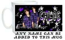 Justin Bieber Mug Personalised with any Name!  Ideal Gift for Any Bieber Fan!