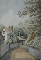 Firle Village Rural Sussex England Watercolour 1951 Indistinctly Walter Wolfe