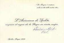 Biglietto Autografo Arcivescovo Spoleto Giuliano Agresti Barberino di Mugello