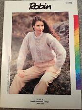 Robin Vogue ~ Knitting Pattern Women's sweater ~ Small/Medium/Large 85/98/113cm