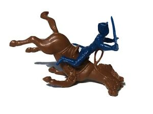 Marx Falling Horse Rider Blue Gray Playset Civil War Cavalry Union Toy Soldier