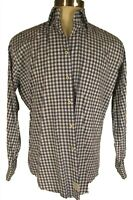 Peter Millar Mens Blue Check Long Sleeve Cotton Shirt L