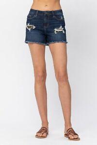 NWT Plus Size Judy Blue Stretchy Dark Denim Camo Patchwork Shorts 1XL, 2XL, 3XL