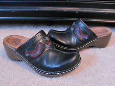 Indigo By Clarks Womens 7M Black Leather Embroidered Floral Mules Clogs Shoes