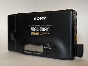 SONY WM-F702 Walkman Cassette Player Radio Black Metal Working New Belt