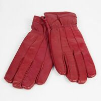 Women Winter Warm Genuine Leather RED Gloves Thermal Insulation Lambskin size S