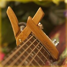 Bamboo Capo ~ Wooden Guitar Capo with Adjustable Spring Tension