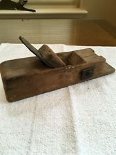 "Vintage Antique Wooden Wood Block Plane Planer 10"" Long Solid Wood Metal"