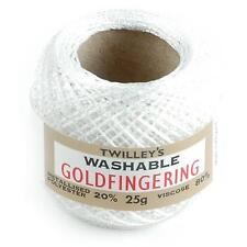 Twilleys Goldfingering 3 Ply Sparkly Yarn. Range of Colours White 10