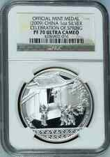 China 2009 S10Y Celebration of Spring Medal NGC PF70 .999 Silver RARE! Bullion