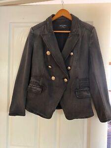 Decjuba Ellen Denim Blazer Washed Black Size 12 In Good Condition