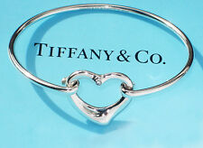 Tiffany & Co Elsa Peretti Open Heart Diamond Sterling Silver Bangle Bracelet