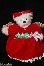 Annette Funicello Natale Angel Wings Teddy Bear in Red Velour Dress