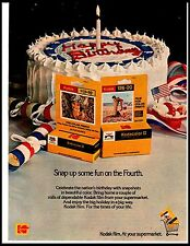 1975 Kodak 110 126 Film Camera Patriotic Happy Birthday Cake Vintage Print Ad