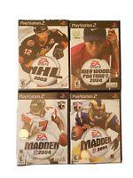 Lot of 4 Games PS2 EA Sports PlayStation NHL03,Madden 04,Madden 03,Tiger Woods04