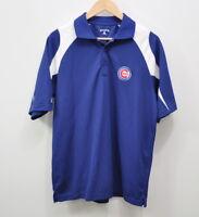 MLB CHICAGO CUBS Size Medium Men's Logo Blue Baseball Polo Knit Shirt