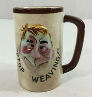"""Vintage Stop Weaving Coffee Cup Drunk Face Mug Whimsical 5"""" Tall 1950's Brown"""