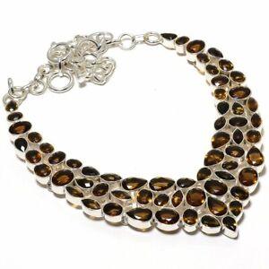 """Smokey Topaz Gemstone 925 Sterling Silver Jewelry Necklace 17.99"""" N901-2_R"""