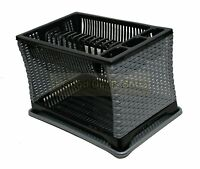 Plastic Dish Drainer 2 Layer Tier Rack Utensil Cutlery Kitchen GREY & BLACK ST