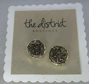 NEW gold druzy crystal Round Pierced Stud Post Earrings
