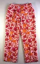 Ann Taylor Loft Womens Silk Pants Side Zip Lined 10 Petite Red Pink Floral