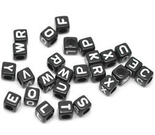 "1000 Mixed Black Alphabet /Letter Acrylic Cube Beads 6x6mm(1/4""x1/4"")"