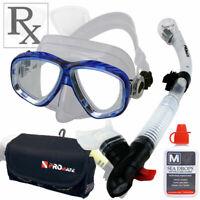 Farsighted Prescription RX Scuba Dive Snorkeling Mask Dry Snorkel Bag Defog