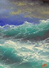 ORIGINAL ACEO OIL PAINTING SEASCAPE ART Pacific Ocean Blue Planet by Mesheryakov