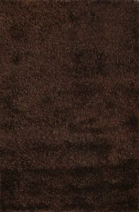 Thick-Plush Modern Shaggy Solid Oriental Area Rug Dark Brown Hand-Tufted 5x7 New
