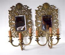 Paire appliques murales bronze miroirs Femme Diable italien 51 cm