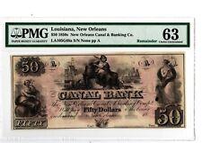 1850s $50 New Orleans, LA  Canal & Banking Co  LA105-G48a  PMG 63 19-C213