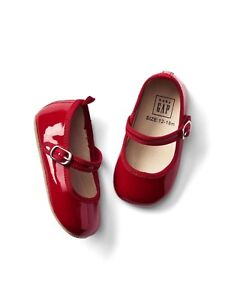 GAP Baby Toddler Girl Size 12-18 Months Patent Leather Red Mary Jane Flats Shoes