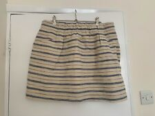 J CREW LINEN SKIRT HIGH WAISTED STRIPED With Pockets Size 10