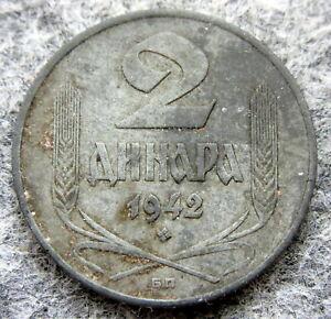 SERBIA 1942 БП 2 DINARA, WWII GERMAN OCCUPATION, ZINC BETTER GRADE