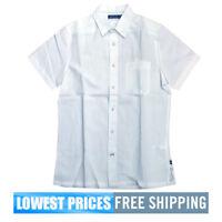 Nautica Men's NWT White W54175 Cotton Short Sleeve Ramie Cotton Small Shirt F/S