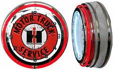 "19"" International Motor Truck Service IH Sign Double Neon Clock Chrome Finish"