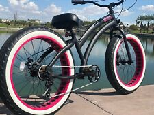 Aluminum Fat Tire Bike Beach Cruiser  🌴 Sikk 7 SPEED Flat Black PINK Wheels