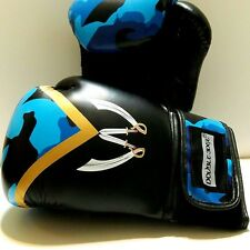 boxing gloves camoflauge blue,pink,black & white