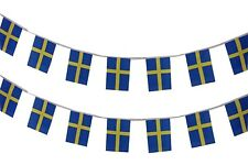 Sweden Swedish Flag Bunting Banner Decoration 100 Polyester Fabric 6m