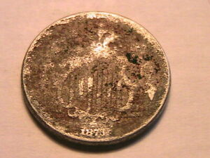 """1873 Shield Nickel 5C About Good """"AG"""" Low Grade Corrosion US Shield 5 Cent Coin"""