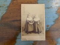 Antique Photograph Cabinet Card of Twin Girls, Very Old, Names On Back