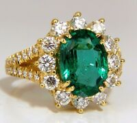 "GIA Certified 7.26ct natural green emerald diamonds ring 18kt ""F2"" Halo Prime"
