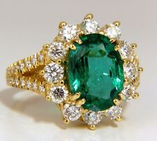 """GIA Certified 7.26ct natural green emerald diamonds ring 18kt """"F2"""" Halo Prime"""