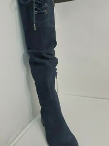 """MATISSE camila womans 19"""" Thighs High dark navy blue leather Suede boots 7M"""