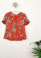 Fatface Blouse Sz 14 Coral Mix Floral Top Short Sleeve Casual