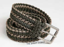 Paracord Belt - Coyote Tan and OD Green with Matte Nickle Buckle - S M L XL
