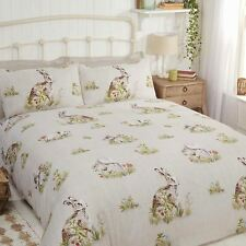 COUNTRY BUMPKIN DOUBLE DUVET COVER SET HARES RABBITS SQUIRRELS NATURAL